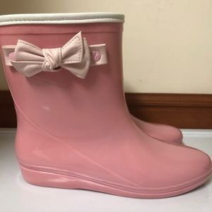Pink Ankle Rainboots with Bow